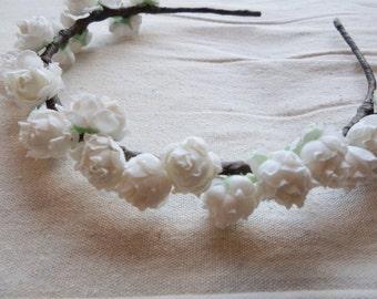 Wedding hair accessory bridal crown woodland bridal white pip wreath garland