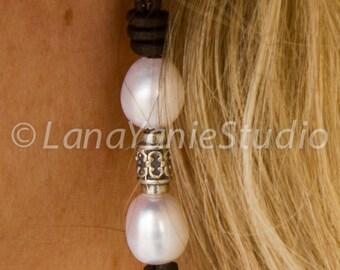 Pearl leather earrings - leather and pearl earrings - pearl leather jewelry - pearl and sterling silver earrings -boho