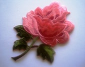 Victorian Rose Iron-On Embroidered Applique, 3 1/2 x 5 1/4 inch, Pink / Green, x 1, For Apparel, Accesories, Decor, Mixed Media