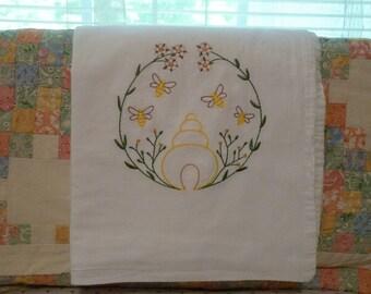 Bee Skiff and Flowers Flour Sack Dish Towel