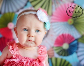 coral and aqua heaband..coral headband..girls coral headband..baby coral heabdand..baby girl headbands..newborn headband..baby headbands