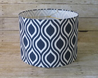 Drum Lamp Shade Lampshade Pendant Navy White Geometric on Slub Cotton
