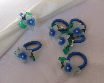 Set of 6 Napkin Rings With Blue Roses