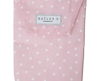 Light Pink Polkadot Diaper Pouch/Diaper bag/Diaper clutch