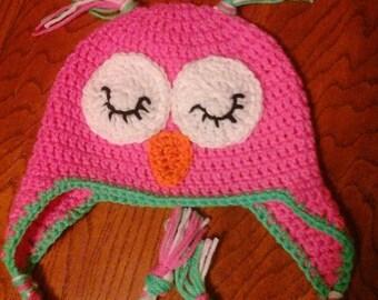Crocheted Owl Hat/Sleepy Owl or Awake Owl--Custom