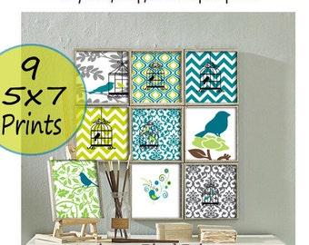 Bird Prints Chartruese Turquoise Vintage / Modern inspired Art Prints - (9) 5x7 Prints - Custom Colors Sizes Available (UNFRAMED)