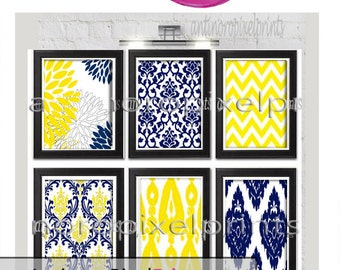 Yellow Navy White Art Prints -Set of  (6) Prints, - 8x10 Prints - Custom Colors Sizes Available (UNFRAMED)