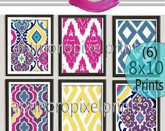 Custom Moroccan Wall Art Colors As Shown Wall Art Vintage / Modern Inspired - Set of 6 - 8x10 Prints -  (UNFRAMED)