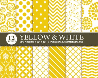 70% OFF SALE 12 Yellow & White Digital Scrapbook Paper, digital paper patterns for card making, invitations, scrapbooking