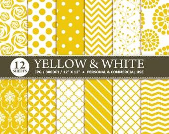 BUY 1 GET 1 FREE - 12 Yellow & White Digital Scrapbook Paper, digital paper patterns for card making, invitations, scrapbooking
