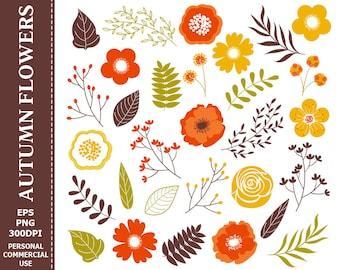 50% OFF SALE Digital Autumn Flowers Clip Art - Leaves, Flowers, Fall, Orange, Yellow, Brown Clip Art
