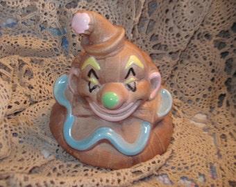 California Brown Clown Cookie Jar Lid, 1950/60s Deforest Of California Brown Clown Cookie Jar Lid, Cookie Jar Replacement lid, Kitchen  :)s