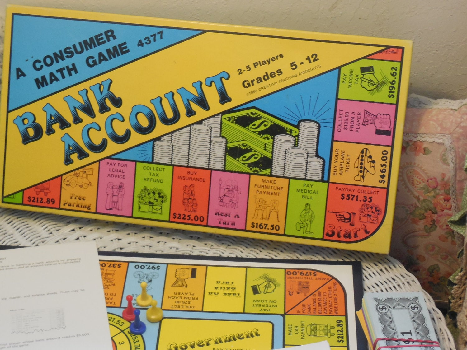 Bank account board game a consumer math game 1982 for Money in design home game