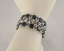 Black Tiles and Silver Seeds Bracelet with Rocker Tab Clasp