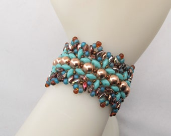 Southwest Bracelet with Copper and Turquoise Glass Beads and Rose Gold Clasp