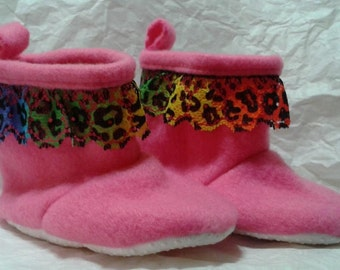 Hot Pink Fleece Booties Sized 6-9 Months with multicolored Lace Trim
