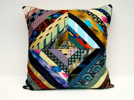 Items similar to Striped Pillow Cover Decorative Pillow Cover Necktie Pillow Cover Art Decor ...