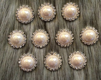 5 pieces Ivory Pearl Rhinestone Buttons 21mm - Pearl buttons