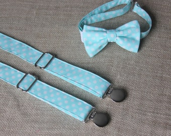 Aqua Blue and White Polka Dots Bow Tie and Suspenders set  ( Men, boys, baby, toddler, infant Suspender and Bowtie ) outfit