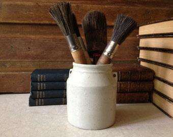 Antique Earthenware Pottery Crock Pot Jar ~ Art Supply ~ Kitchenalia