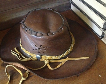 Vtg Handcrafted Distressed Tooled Leather Cowboy Hat