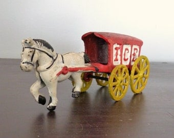 Vintage Cast Iron Horse Pulling Ice Cart Toy - Vintage Metal Toy