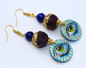Lapis Lazuli, Rudraksha, Gold Leaf Hand Painted Third Eye Earrings