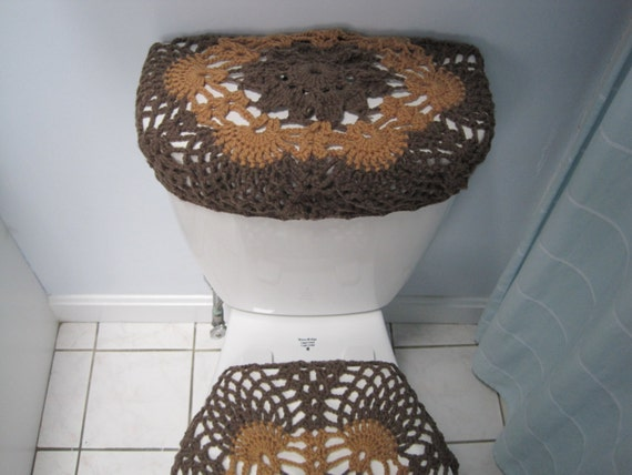 crochet toilet tank lid cover taupe heather warm brown. Black Bedroom Furniture Sets. Home Design Ideas