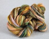Gone Hunting -- Kettle Dyed and Handspun Thick and Thin Merino Wool Yarn in Green and Orange --  56 Yards