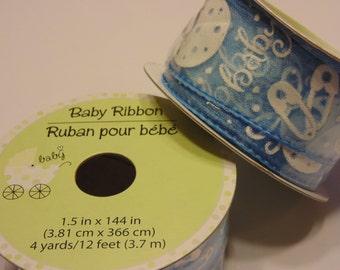 12 feet of BABY BOY ribbon (HR3)