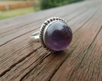 Vintage Silver Ring.  With Purple Stone, Stamped 925, Size 7.5