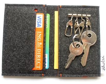 Card Organizer + Keyring Wallet / Felt Wallet / Keyring / Keyholder / Key holder Wallet-  Black & Orange- Orange Elastic Band