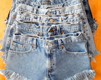 Frayed High Waisted Denim Shorts- Custom Made