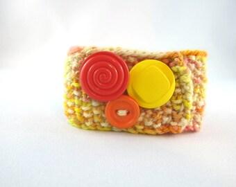 Rothko's Reds:  modern art inspired,  knit cuff,  beige cuff,  red orange yellow, button cuff
