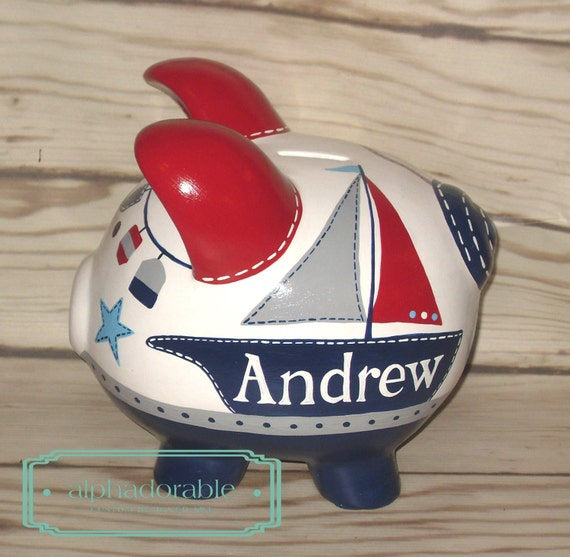 Oh buoy artisan hand painted ceramic personalized by alphadorable - Nautical piggy bank ...