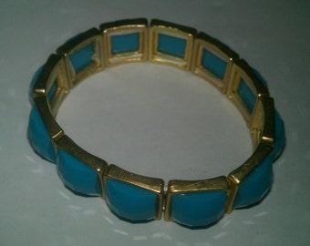 Vintage Tamina Gold and Turquoise Stretch Bracelet
