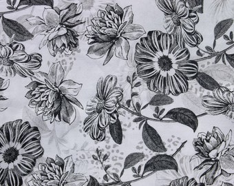 Black and White Floral Cotton Fabric - 1 1/4 yards
