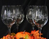 Set of 4 hand etched Autumn wine glasses