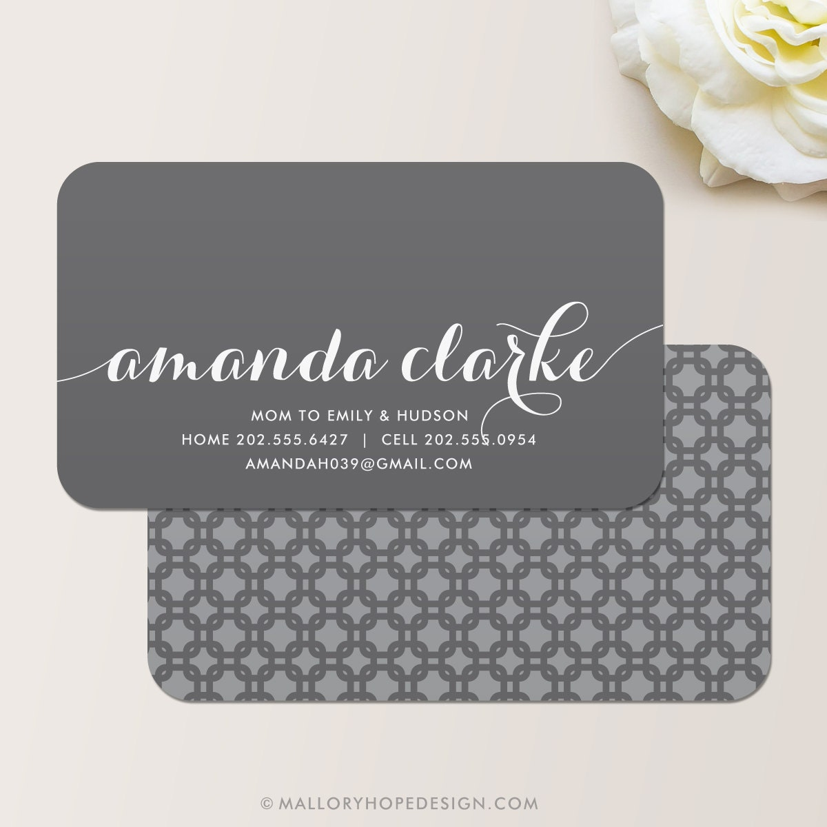 Flowing script business card calling card mommy card for Business calling cards