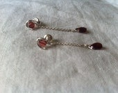 Silver sterling earrings with garnets
