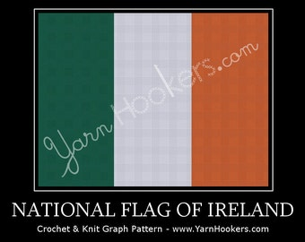 National Flag of Ireland - Afghan Crochet Graph Pattern Chart - Instant Download