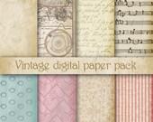Vintage Digital Scrapbooking Paper Pack. Scrapbook Papers pattern, background, old style, vintage digital paper. Rusteam