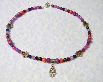 Shades of Purple and Pink Gemstone Hamsa Necklace