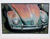 Photo Card, Volkswagen Beetle, Green VW photo, photography