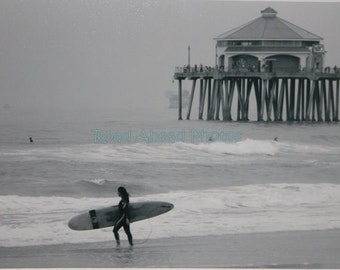 8 x 10 matted black and white surf photograph Huntington Beach, surfer girl