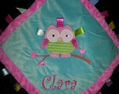"""Owl Taggie Blanket, includes Personalization  16"""" x 16"""" baby toddler shower gift"""