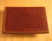 Business Card Holder, Leather Card Case, Basketweave Tooling