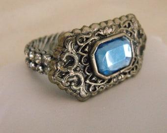 Vintage Expansion Bracelet rhinestones Aquamarine 1950s
