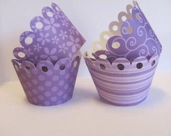 Set of 12 Purple Cupcake wrappers,