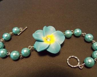 Blue Plumeria Pearl Bracelet